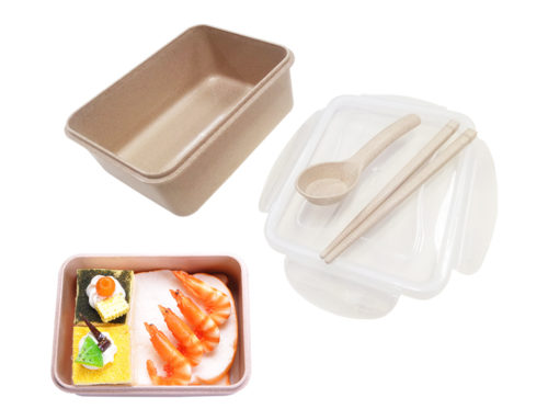 F405 Straw Wheat Lunch Box with chopsticks & spoon 15X11X6cm