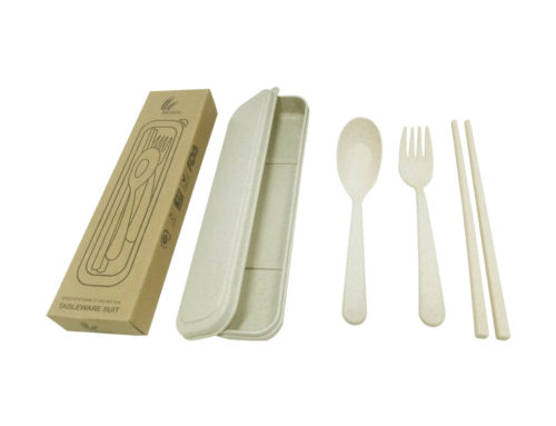 F407 Straw Wheat Cutlery Set in box*fork, chopsticks +spoon