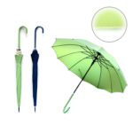 UMS1200 AUTO OPEN STRAIGHT UMBRELLA. Material : Pongee, J Handle PU, Shaft and Rib Metal. Dimensions: 21inch x 12panels