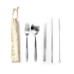 HKC1007 STAINLESS STEEL 5PCS CUTLERY SET W STRAW. Packaging: Canvas Pouch