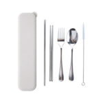HKC1022 STAINLESS STEEL CUTLERY SET WITH STRAW IN WHEAT CASE Colours :Beige Dimensions: 24.5cm x 5.3cm x 2.8cm
