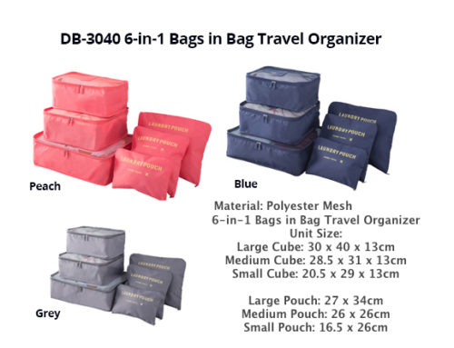 DB3040 -6 In 1 Travel Organizer *material: Polyester Mesh*
