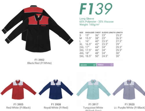 F139 Long Sleeve Unisex Uniform 160gsm