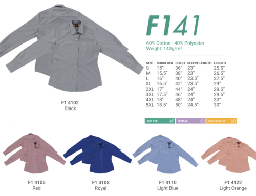 F141 Ladies Long Sleeve Uniform 140gsm