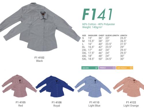 F141 Ladies Long Sleeve Uniform 140gsm