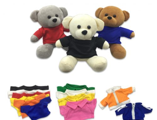 FG391 -17cm Teddy Bear with round neck, polo  & jacket apparel