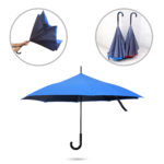 UMS1306 INVERTED UMBRELLA -23 inch X 8 Panels inverter umbrella. Inverter way of open or close. Keep the surface dry always. Stylish look with double layer canopy. Material :190T polyester. Colours: Blue with grey and red with grey