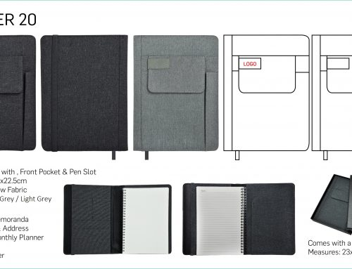 Jotter 20 A5 Notebook made of snow fabric with front pocket & pen slot