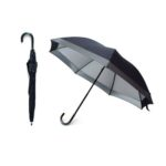 UMS1000 - 2 FOLD MANUAL OPEN STRAIGHT UMBRELLA Material: Pongee with UV coasted, J Handle PU, Shaft and Rib Metal Dimensions: 18inch x 7panel