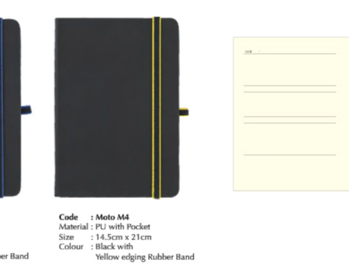 MOTO M4 *A5 PU Notebook with Colored Edging Band