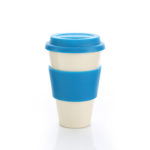 HDC1009 BAMBOO FIBRE MUG WITH LID & SLEEVE 350ML. Material: 70% Bamboo Powder & 10% Starch & 20% Resin + Colorant Colours: Dark Blue, Sky Blue, Green & Red