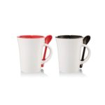 HDC6003 10*OZ CERAMIC MUG WITH SPOON Dimensions: 8.5cm(D) x 11cm(H)