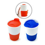 UMG1600 PP COFFEE MUG 300ML Material: PP, handle is TPR(ThermoPlastic Rubber material)