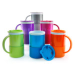 UMG1301 TRENDY MICROWAVE MUG -With open closure lid. Clear mug surface ideal for logo printing. EVA base at mug bottom. Capacity: 18oz.Material :Plastic