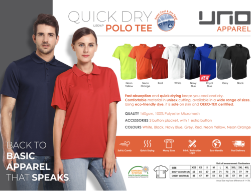 UNO Quick Dry Polo Tee Shirt