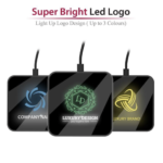 WLC683 AIRGLOWLED LIGHT UP LOGO - MIRROR SURFACE - 10W FAST CHARGING - WIRELESS CHARGERMaterial: ABS Colour: Black | Other Colours Make To Order Weight: 62g Dimension: 9.0cm x 9.0cm x 0.9cm Packaging: Premium Black Box (Top & Bottom) | Weight: 90g | Dimension: 11.6cm x 11.6cm x 2.7cm Accessories: Quick Charge Micro USB Cable | User Manual Printing Option: Light Up Logo (In House Production) Product Warranty: 12 MonthsMicro Input: 5V-2A, 9V-1.67A Wireless Output: 10W