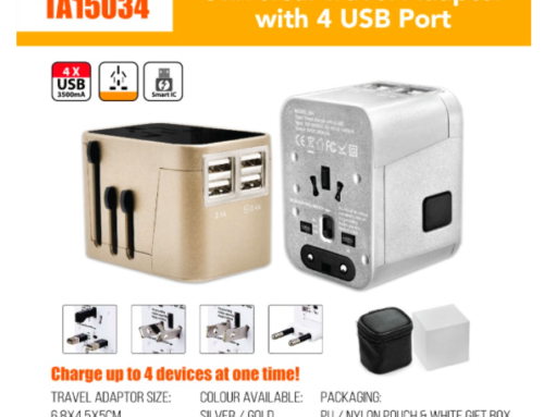 TA15034 Universal Travel Adaptor with 4 USB Port