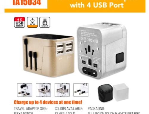 TA15034 Universal Travel Adaptor with 4 USB Port