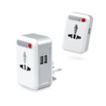 EGT1004 UNIVERSAL TRAVEL ADAPTOR WITH 2 USB HUB -Universal worldwide adaptor plug, can be used in US, UK, US, AU and in more than 150 countries. The built-in 2 USB ports facilitates the charging of mobile electronic devices. Timer can be set according to your needs, power supply will be cut-off automatically upon time-out. Material: ABS