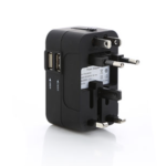 EGT1019 UNIVERSAL TRAVEL ADAPTER -More than 150 Countries with US/EU/UK/AU european Plugs like Thailand, New Zealand, Israel, Italy, Russia, Rome, France, Spain, Canada, China, Australia, India, Hong Kong,etc SAFETY PROTECTION - this International Travel Power Adapter built-In safety shutters protect users from the direct touch of the live parts on the socket outlet All IN ONE - Detachable charger includes 5 Different Input Plugs Tightly Connect into 1 Adaptor DUAL USB CHARGING PORTS - World Adapter Plug compatible with almost all USB Devices. Dimensions 5.6x8.5x5cm. Material:ABS
