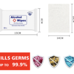 ANTI-BACTERIAL ALCOHOL WET WIPES -75% Ethyl Alcohol for complete elimination of germs and bacterial Effectively kills Hemolytic Streptococcus, E.coli, Staphylococcus Aureus, Pseudomonas Aeruginosa 10pcs per pack Safe and Hygienic Non-Woven cotton Package size : 15cm x 8cm Wipes size : 14cm x 18cm