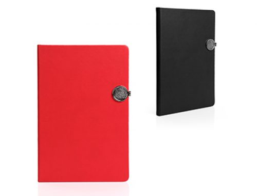 ZNO1024 A5 PU Notebook with magnetic metal plate clip, 80pp lined cream paper
