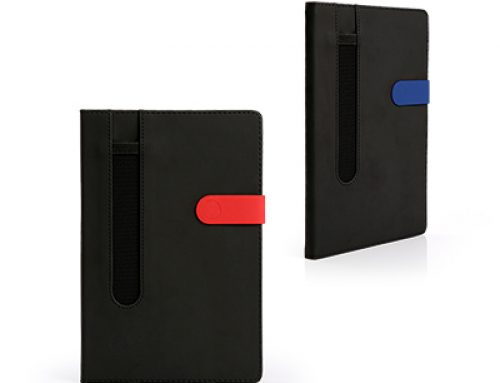ZNO1025 Matt PU A5 Notebook with mesh elastic pen slot on front cover