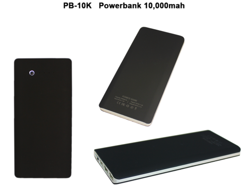 PB-10K *10,000mAh Powerbank -15.5 X 7.5 X 1.2cm ABS Material*